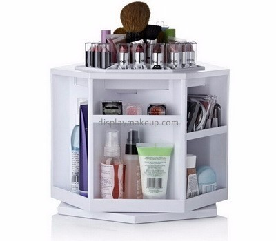 Hot sale acrylic counter top display mac makeup display stand 360 rotating cosmetic organizer DMD-091