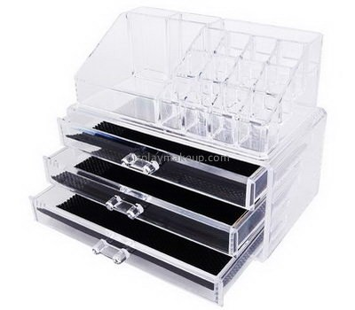 Custom lucite makeup organizer clear acrylic makeup box clear containers for makeup DMO-223