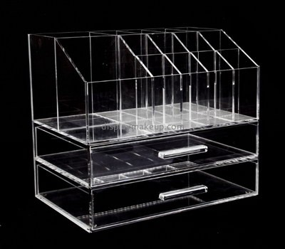 Custom clear acrylic makeup display holders with drawer DMD-2738
